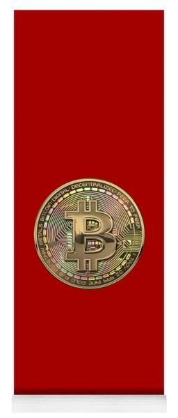 Gold Bitcoin Effigy Over Red Canvas Yoga Mat