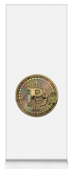 Gold Bitcoin Effigy Over White Leather Yoga Mat