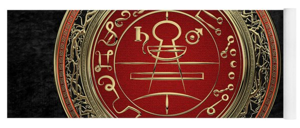 Gold Seal Of Solomon - Lesser Key Of Solomon On Black Velvet  Yoga Mat