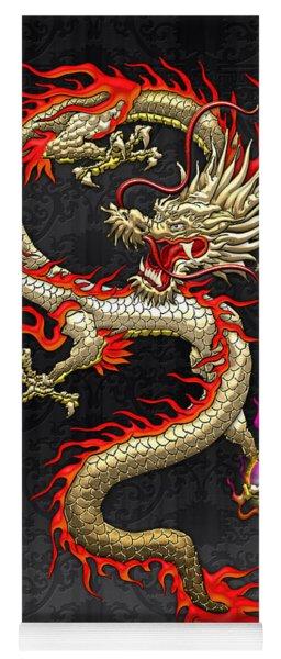 Golden Chinese Dragon Fucanglong  Yoga Mat