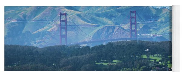 Yoga Mat featuring the photograph Golden Gate Bridge View From Twin Peaks San Francisco by Alex Grichenko
