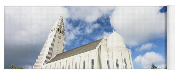 Hallgrimskirkja Church In Reykjavik Yoga Mat