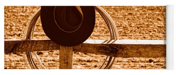 Hat And Lasso On Fence - Sepia Yoga Mat