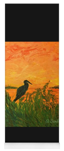Heron At Sunset Yoga Mat