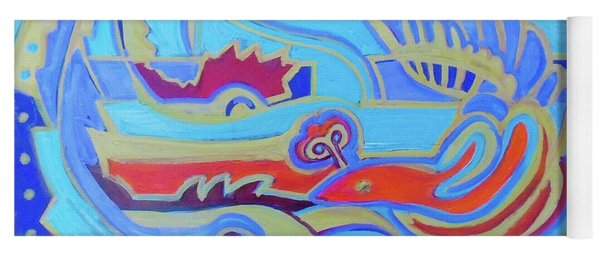 Yoga Mat featuring the painting Hexagram 22-pi by Denise Weaver Ross