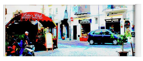Italian City Street Scene Digital Art Yoga Mat