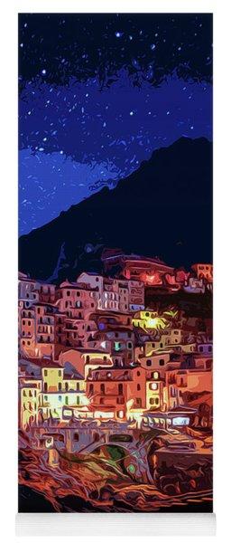 Italy, Manarola At Night Yoga Mat