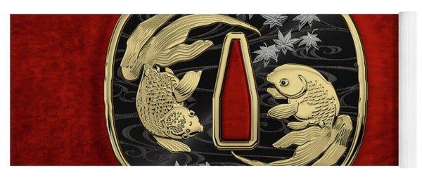Japanese Katana Tsuba - Twin Gold Fish On Black Steel Over Red Velvet Yoga Mat