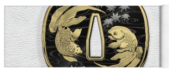 Japanese Katana Tsuba - Twin Gold Fish On Black Steel Over White Leather Yoga Mat