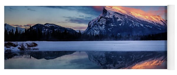 Last Light On Mount Rundle Yoga Mat