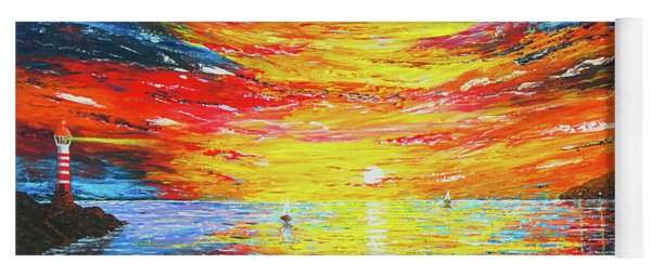 Yoga Mat featuring the painting  Lighthouse Sunset Ocean View Palette Knife Original Painting by Georgeta Blanaru