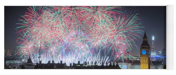 London New Year Fireworks Display Yoga Mat