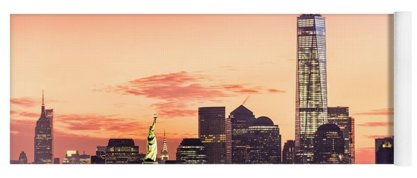 Lower Manhattan And The Statue Of Liberty At Sunrise Yoga Mat