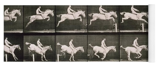 Man And Horse Jumping A Fence Yoga Mat