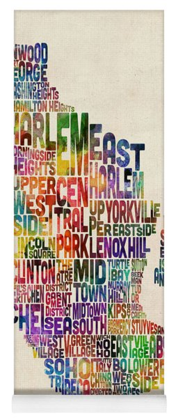 Manhattan New York Typographic Map Yoga Mat