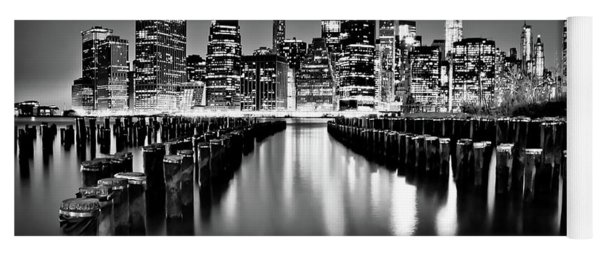 Manhattan Skyline At Night Yoga Mat