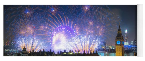 New Year Fireworks Yoga Mat