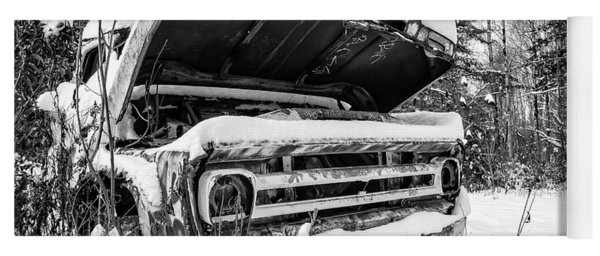 Old Abandoned Pickup Truck In The Snow Yoga Mat
