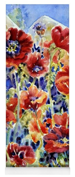 Picket Fence Poppies Yoga Mat