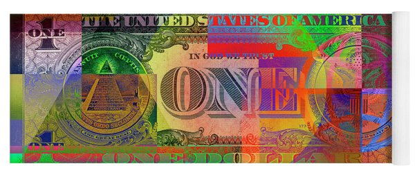 Pop-art Colorized One U. S. Dollar Bill Reverse Yoga Mat
