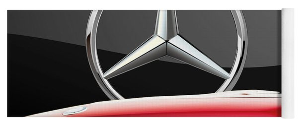 Red Mercedes - Front Grill Ornament And 3 D Badge On Black Yoga Mat