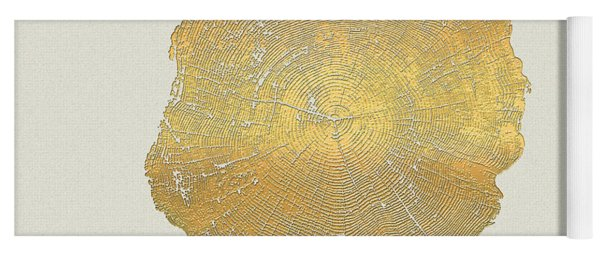 Rings Of A Tree Trunk Cross-section In Gold On Linen  Yoga Mat