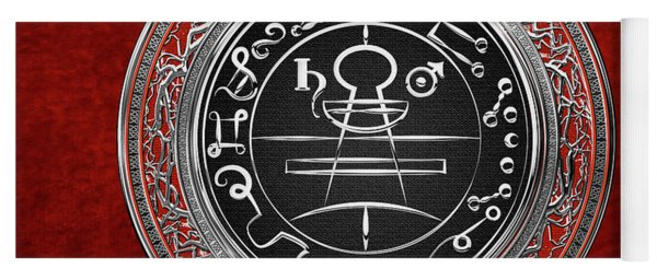 Silver Seal Of Solomon - Lesser Key Of Solomon On Red Velvet  Yoga Mat