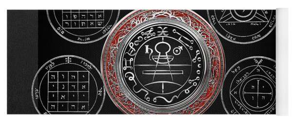Silver Seal Of Solomon Over Seven Pentacles Of Saturn On Black Canvas  Yoga Mat