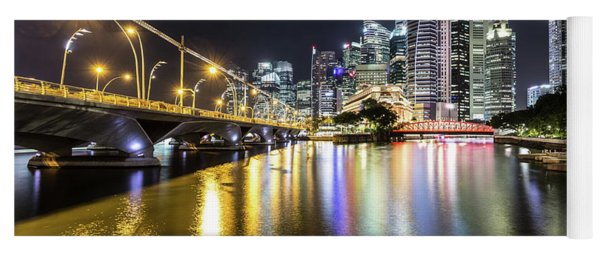 Singapore River At Night With Financial District In Singapore Yoga Mat