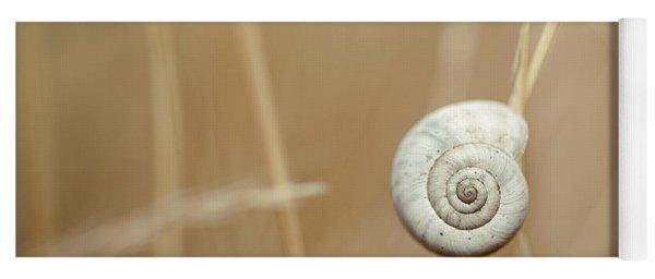 Snail On Autum Grass Blade Yoga Mat