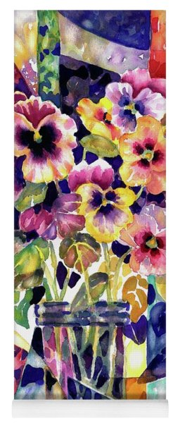 Stained Glass Pansies Yoga Mat
