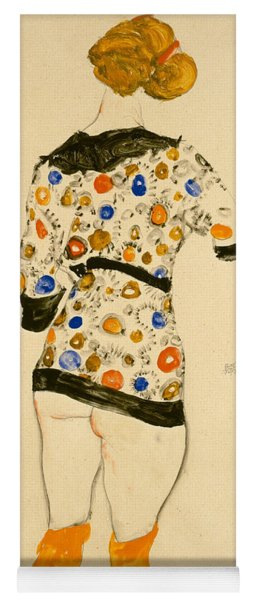 Standing Woman In A Patterned Blouse Yoga Mat