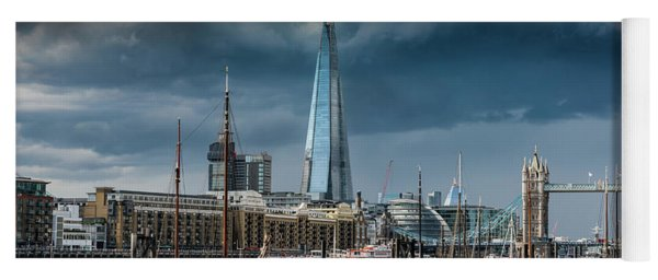 Yoga Mat featuring the photograph Storm Looming Over The Shard And Tower Bridge by Gary Eason