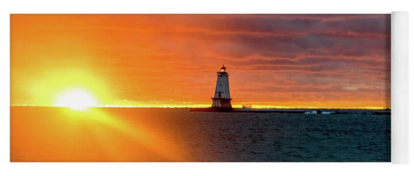 Sunset And Lighthouse Yoga Mat
