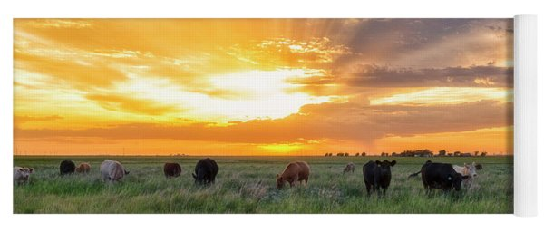 Yoga Mat featuring the photograph Sunset Pastures by Russell Pugh