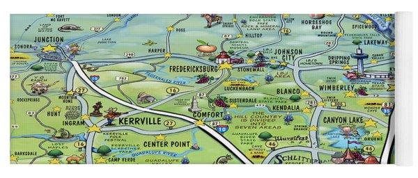 Texas Hill Country Cartoon Map Yoga Mat