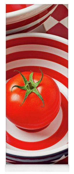 Tomato In Red And White Bowl Yoga Mat