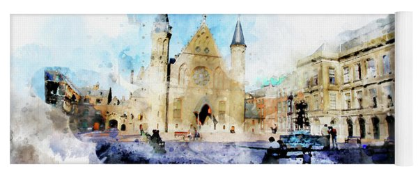 Town Life In Watercolor Style Yoga Mat