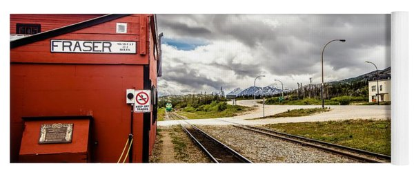 Yoga Mat featuring the photograph Train Wating For Passengers At Fraser British Columbia Train Sta by Alex Grichenko