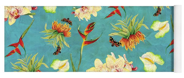 Tropical Island Floral Half Drop Pattern Yoga Mat