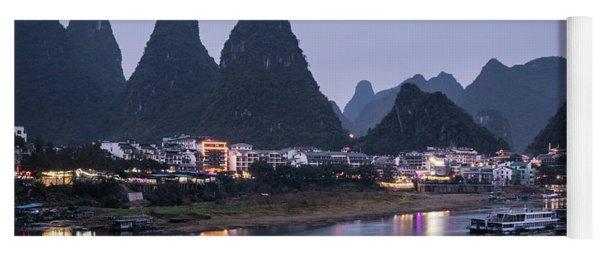 Twilight Over The Lijang River In Yangshuo Yoga Mat