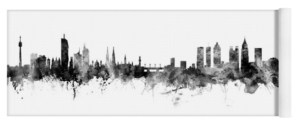 Vienna Austria And Atlanta Skylines Mashup Yoga Mat