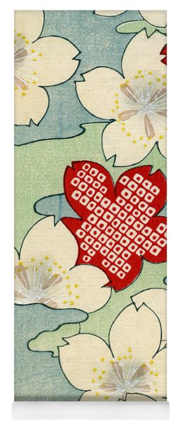 Vintage Japanese Illustration Of Dogwood Blossoms Yoga Mat