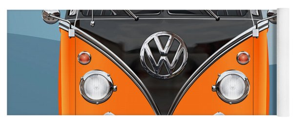 Volkswagen Type 2 - Black And Orange Volkswagen T 1 Samba Bus Over Blue Yoga Mat