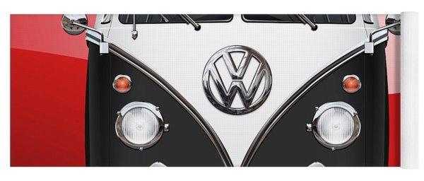 Volkswagen Type 2 - Black And White Volkswagen T 1 Samba Bus On Red  Yoga Mat