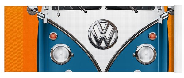 Volkswagen Type 2 - Blue And White Volkswagen T 1 Samba Bus Over Orange Canvas  Yoga Mat