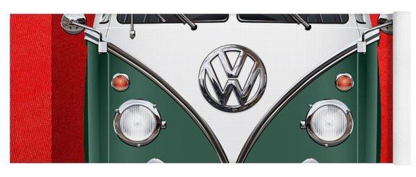 Volkswagen Type 2 - Green And White Volkswagen T 1 Samba Bus Over Red Canvas  Yoga Mat
