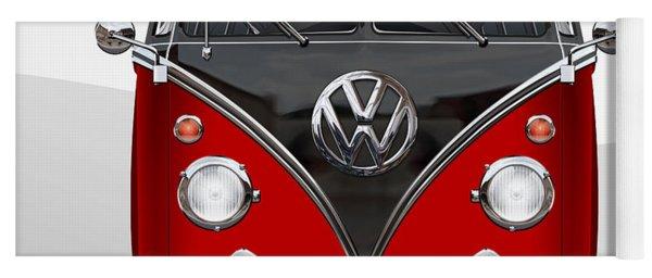 Volkswagen Type 2 - Red And Black Volkswagen T 1 Samba Bus On White  Yoga Mat
