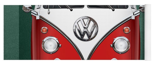 Volkswagen Type 2 - Red And White Volkswagen T 1 Samba Bus Over Green Canvas  Yoga Mat