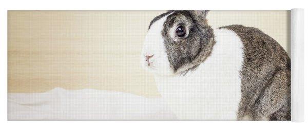 White And Brown Rabbit Yoga Mat
